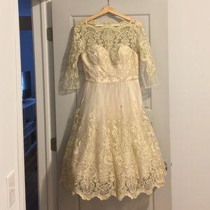 Chi Chi London ModCloth tea length bridal dress